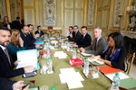 French President Emmanuel Macron, 3rd right, flanked by his cabinet director Patrick Strzoda, 2nd right, and Elysee general secretary Alexis Kohler holds a meeting with Prance's Premier Edouard Philippe, 3rd left, at the Elysee presidential Palace in Paris, Monday, March 18, 2019. Macron summoned top security officials Monday after police failed to contain resurgent rioting during yellow vest protests that transformed a luxurious Paris avenue into a battle scene. (Ludovic Marin/Pool Photo via AP)