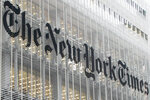 "FILE - This Wednesday, Oct. 10, 2012 file photo shows the New York Times logo on the company's building in New York. On Friday, July 3, 2020, The Associated Press reported on a manipulated video image circulating online incorrectly asserting it shows a news story that The New York Times posted on June 27, then quickly pulled down, which claimed U.S. President Donald Trump died of a hydroxychloroquine overdose. The TikTok user who spread the rumor about the fake article posted an explanation confirming she shared it as a joke. ""That video was entirely a joke and meant no harm,"" she said. (AP Photo/Richard Drew)"