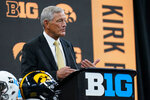 Iowa head coach Kirk Ferentz talks to reporters during an NCAA college football news conference at the Big Ten Conference media days, at Lucas Oil Stadium in Indianapolis, Friday, July 23, 2021. (AP Photo/Michael Conroy)