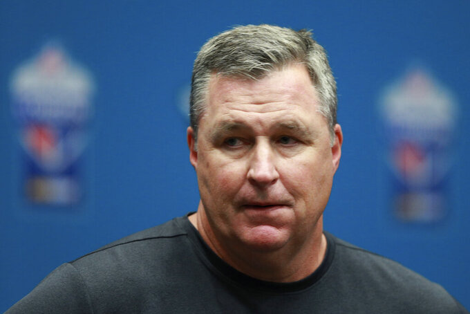 Jacksonville Jaguars head coach Doug Marrone speaks volumes at a news conference after an NFL football game against the Houston Texans at Wembley Stadium, Sunday, Nov. 3, 2019, in London. The Houston Texans won 26-3. (AP Photo/Ian Walton)