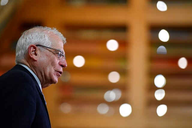 European Union foreign policy chief Josep Borrell speaks to journalists prior to a EU Foreign Affairs Ministers meeting at the European Council building in Brussels, Monday, Jan. 25, 2021. The European Union called Monday for broad political talks in Venezuela to set up new elections and warned that it stands ready to slap sanctions on more senior officials in the country for undermining democracy or human rights violations. (John Thys/Pool Photo via AP)