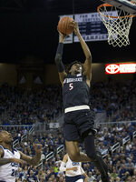 Nevada against San Diego State in the first half of an NCAA college basketball game in Reno, Nev., Saturday, March 9, 2019. (AP Photo/Tom R. Smedes)