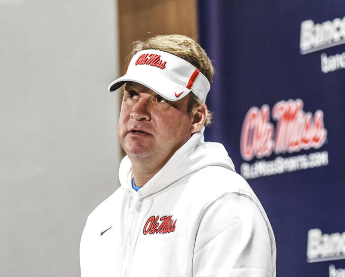 Mississippi head coach Lane Kiffin discusses the team's signing class during a press conference at the Manning Center, in Oxford, Miss. on Wednesday, Dec. 18, 2019. (Bruce Newman/The Oxford Eagle via AP)