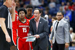 Georgia head coach Tom Crean yells to his players in the second half of an NCAA college basketball game against Mississippi in the Southeastern Conference Tournament Wednesday, March 11, 2020, in Nashville, Tenn. Georgia won 81-63. (AP Photo/Mark Humphrey)
