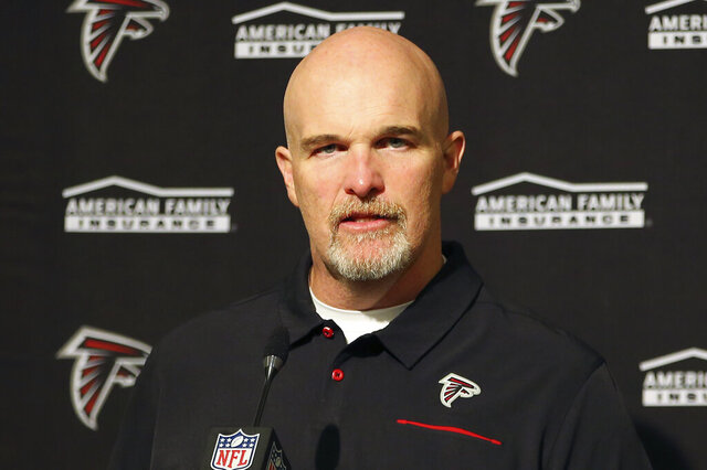 FILE - In this Dec. 15, 2019, file photo, Atlanta Falcons head coach Dan Quinn speaks at a news conference after an NFL football game against the San Francisco 49ers in Santa Clara, Calif. Falcons coach Dan Quinn opened his virtual classroom for his players' offseason program on Monday. He says there will be