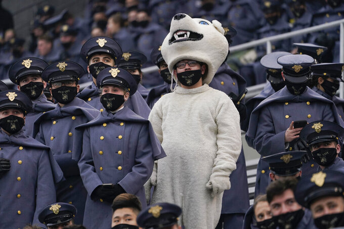 Army cadets attend an NCAA college football game against Navy on Saturday, Dec. 12, 2020, in West Point, N.Y. (AP Photo/Andrew Harnik)