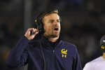 FILE - In this Nov. 30, 2019, file photo, California head coach Justin Wilcox reacts on the sideline during the second half of an NCAA college football game against UCLA in Pasadena, Calif. As Wilcox looks to navigate a season like none other, he can at least lean on a quarterback who has endured his share of trials winning the job. (AP Photo/Mark J. Terrill, File)