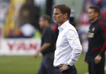 FILE - In this May 19, 2019 file photo, Atlanta United coach Frank de Boer watches his team's MLS soccer match against the New York Red Bulls in Harrison, N.J. Frank de Boer was appointed coach of the Netherlands on Wednesday, Sept. 23, 2020 succeeding Ronald Koeman who quit to join Barcelona. The federation said the 50-year-old De Boer signed a contract through the World Cup in Qatar in 2022.(AP Photo/Steve Luciano, File)