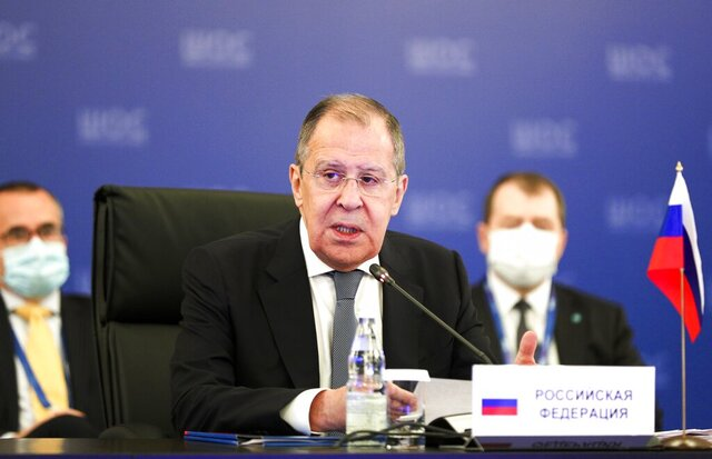 CAPTION CORRECTS DATE In this photo released by the Russian Foreign Ministry Press Service, Russian Foreign Minister Sergey Lavrov, center, speaks at a meeting of Foreign Ministers of Shanghai Cooperation Organisation, Commonwealth of Independent States and Collective Security Treaty Organization Member States in Moscow, Russia, Thursday, Sept. 10, 2020. (Russian Foreign Ministry Press Service via AP)