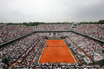 FILE - In this June 10, 2018 file photo, the crowd watch Austria's Dominic Thiem serving to Spain's Rafael Nadal during the men's final match of the French Open tennis tournament at the Roland Garros stadium,in Paris. The French Tennis Federation says up to 60% of the stands can be filled with fans when play starts in September at Roland Garros. The clay-court tournament had been scheduled to start on May 24 but was postponed to Sept. 20 because of the coronavirus pandemic. (AP Photo/Christophe Ena, File)