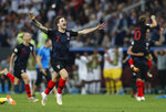 Croatia's Sime Vrsaljko celebrates after his team advanced to the final during the semifinal match between Croatia and England at the 2018 soccer World Cup in the Luzhniki Stadium in Moscow, Russia, Wednesday, July 11, 2018. (AP Photo/Alastair Grant)