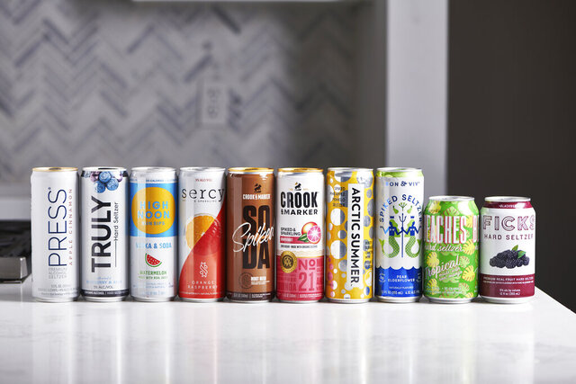 This January 2020 photo shows a selection of hard seltzer on a counter in New York. The most recent