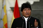 Bolivia's President Evo Morales speaks during a press conference with Greece's Prime Minister Alexis Tsipras  at Maximos Mansion in Athens, Friday, March 15, 2019. Bolivia's left-wing president on Thursday compared Venezuelan opposition leader Juan Guaido to an erstwhile colonial viceroy and spoke out against any military intervention in the troubled country. (AP Photo/Thanassis Stavrakis)