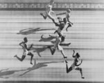 FILE - In this file pool photo released by the Olympic Games judges' panel, Harrison Dillard, bottom, wins the men's 100 meters at the Olympics in London on July 31, 1948. From bottom to top are Dillard; MacDonald Bailey, Britain, sixth; Alan McCorquodale, Britain, fourth; Lloyd LaBeach, Panama, third; Barney Ewell, of the United States, second;  and Mel Patton, of the United States, fifth. Dillard, the only Olympic runner to win gold medals in both the sprints and high hurdles, has died. He was 96. Longtime friend Ted Theodore said Dillard died Friday, Nov. 15, 2019, at the Cleveland Clinic after a fight with stomach cancer. The 1955 Sullivan Award winner as the nation's outstanding amateur athlete, Dillard was the oldest living U.S. Olympic champion. (Pool Photo via AP, File)
