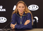 Denmark's Caroline Wozniacki answers questions during a press conference at the Australian Open tennis championships in Melbourne, Australia, Saturday, Jan. 13, 2018. (AP Photo/Dita Alangkara)