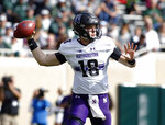 Northwestern quarterback Clayton Thorson throws a pass against Michigan State during the first quarter of an NCAA college football game, Saturday, Oct. 6, 2018, in East Lansing, Mich. (AP Photo/Al Goldis)