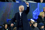 Everton manager Carlo Ancelotti gestures on the touchline during the English Premier League soccer match between Everton and Burnley at Goodison Park, Liverpool, England, Thursday Dec. 26, 2019. (Anthony Devlin/PA via AP)