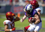 Iowa State linebacker Mike Rose (23) and defensive back Greg Eisworth II (12) tackle TCU quarterback Max Duggan (15) during an NCAA college football game on Saturday, Sept. 26, 2020 in Fort Worth, Texas. Iowa won 37-34. (AP Photo/Brandon Wade)