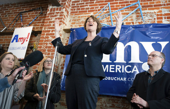 Democratic presidential candidate Sen. Amy Klobuchar, D-Minn., campaigns in Eau Clare, Wis., on Saturday, Feb. 16, 2019.  (Glen Stubbe/Star Tribune via AP)