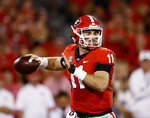 Georgia quarterback Jake Fromm prepares to throw a pass during the first half of the team's NCAA college football game against Vanderbilt on Saturday, Oct. 6, 2018, in Atlanta. (AP Photo/John Bazemore)
