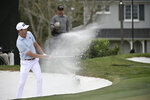 FILE - In this March 8, 2020, file photo, Harris English hits out of a bunker onto the 14th green during the final round of the Arnold Palmer Invitational golf tournament in Orlando, Fla. Before the PGA Tour season was halted by the coronavirus, English worked his way up to No. 24 in the FedEx Cup. (AP Photo/Phelan M. Ebenhack, File)