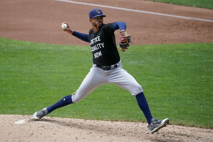Milwaukee Brewers' Devin Williams throws during an intrasquad game Tuesday, July 21, 2020, at Miller Park in Milwaukee. (AP Photo/Morry Gash)