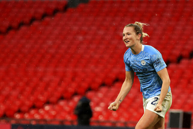 Manchester City's Sam Mewis celebrates after scoring her side's first goal during the Women's FA Cup final soccer match between Everton and Manchester City at Wembley stadium in London, Sunday, Nov. 1, 2020. (Adam Davy/Pool via AP)