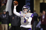 Abilene Christian quarterback Luke Anthony (3) passes against Mississippi State during the first half of an NCAA college football game, Saturday, Nov. 23, 2019, in Starkville, Miss. (AP Photo/Rogelio V. Solis)