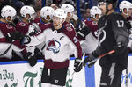 Colorado Avalanche left wing Gabriel Landeskog (92) celebrates his second period goal during an NHL hockey game against the Tampa Bay Lightning Saturday, Oct. 19, 2019, in Tampa, Fla. (AP Photo/Jason Behnken)