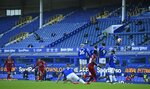 Liverpool's Trent Alexander-Arnold takes a free-kick during the English Premier League soccer match between Everton and Liverpool at Goodison Park in Liverpool, England, Sunday, June 21, 2020. (AP photo/Shaun Botterill, Pool)