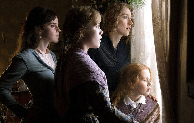 This image released by Sony Pictures shows, Emma Watson, from left, Florence Pugh, Saoirse Ronan and Eliza Scanlen in a scene from