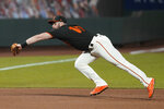 San Francisco Giants third baseman Evan Longoria catches a line out hit by San Diego Padres' Tommy Pham during the sixth inning of a baseball game Saturday, Sept. 26, 2020, in San Francisco. (AP Photo/Eric Risberg)