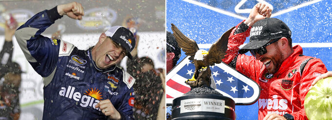FILE - At left, in a Feb. 16, 2018, file photo, Johnny Sauter celebrates in Victory Lane after winning the NASCAR Truck Series auto race at Daytona International Speedway in Daytona Beach, Fla. At right, in a July 27, 2019, file photo,  Ross Chastain celebrates in victory lane after winning a NASCAR Truck Series auto race in Long Pond, Pa. Brett Moffitt, Ross Chastain, Austin Hill, Johnny Sauter, Stewart Friesen, Tyler Ankrun, Grant Enfinger and Matt Crafton  are competing in the NASCAR Truck Series playoffs. (AP Photo/File)