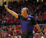 TCU coach Jamie Dixon yells out to his players during the first half of an NCAA college basketball game against Texas Tech, Monday, Jan. 28, 2019, in Lubbock, Texas. (AP Photo/Brad Tollefson)