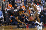 CSUN forward Jared Pearre (25) and Auburn center Austin Wiley (50) compete for a loose ball during the first half of an NCAA college basketball game Friday, Nov. 15, 2019, in Auburn, Ala. (AP Photo/Julie Bennett)