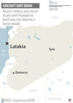 UPDATES text to say jet was shot down; corrects spelling of Latakia; map locates Lattakia, Syria, where Russian military says one of its jets disappeared; 1c x 2 1/2 inches; 46.5 mm x 63 mm;