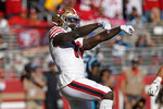 San Francisco 49ers wide receiver Deebo Samuel celebrates after scoring a touchdown during the second half of an NFL football game against the Carolina Panthers in Santa Clara, Calif., Sunday, Oct. 27, 2019. (AP Photo/Tony Avelar)