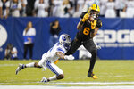Arizona State wide receiver LV Bunkley-Shelton (6) catches a pass against BYU defensive back Jakob Robinson during the first half of an NCAA college football game Saturday, Sept. 18, 2021, in Provo, Utah. (AP Photo/Rick Bowmer)