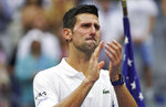 Novak Djokovic, of Serbia, reacts to the crowd after losing to Daniil Medvedev, of Russia, in the men's singles final of the US Open tennis championships, Sunday, Sept. 12, 2021, in New York. (AP Photo/John Minchillo)