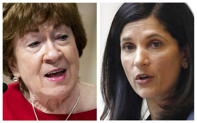 FILE - This pair of 2020 file photos shows incumbent Republican U.S. Sen. Susan Collins, left, and Maine Democrat House Speaker, right, candidates for U.S. Senate in the Nov. 3 election. (AP Photos, File)