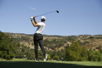 Stephen Curry hits from the fourth tee of the Silverado Resort North Course during the pro-am event of the Safeway Open PGA golf tournament Wednesday, Sept. 25, 2019, in Napa, Calif. (AP Photo/Eric Risberg)