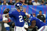 New York Giants quarterback Mike Glennon (2) looks to pass in the first half of an NFL preseason football game against the New York Jets, Saturday, Aug. 14, 2021, in East Rutherford, N.J. (AP Photo/Frank Franklin II)