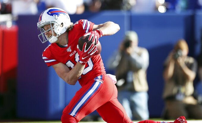 Buffalo Bills wide receiver Cole Beasley catches a touchdown pass in the second half of an NFL football game Miami Dolphins, Sunday, Oct. 20, 2019, in Orchard Park, N.Y. (AP Photo/Ron Schwane)
