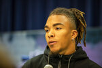 Chase Claypool talks to the media at the NFL Scouting Combine on Tuesday, Feb. 25, 2020 in Indianapolis. (Detroit Lions via AP)
