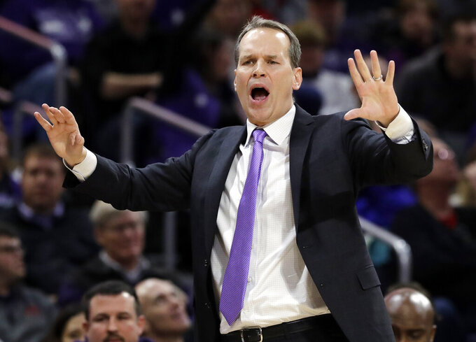 FILE - In this Feb. 23, 2019, file photo, Northwestern head coach Chris Collins reacts as he talks to his team during the first half of an NCAA college basketball game against Wisconsin in Evanston, Ill. Northwestern hopes to find its footing coming off back-to-back losing seasons since the school that hosted the NCAA's inaugural Final Four made the tournament for the first time. (AP Photo/Nam Y. Huh, File)