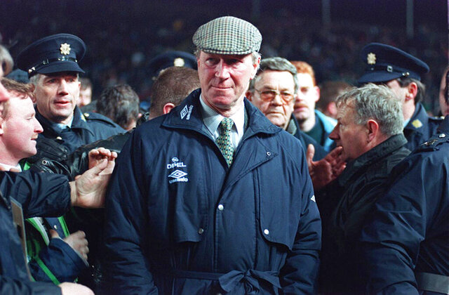 FILE - Feb. 15, 1995 file photo of Ireland soccer team manager Jack Charlton. Jack Charlton, who won the World Cup with England in 1966, has died it was announced on Saturday July 11, 2020. He was 85. (PA via AP)