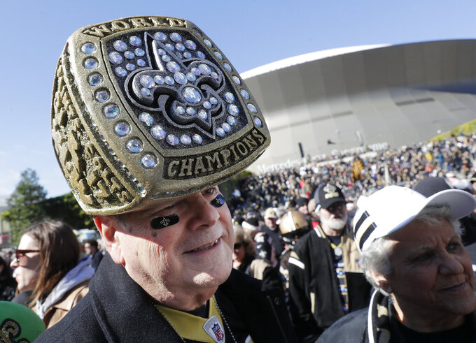 New Orleans Saints fan Dave Perry arrives before the NFL football NFC championship game against the Los Angeles Rams Sunday, Jan. 20, 2019, in New Orleans. (AP Photo/Gerald Herbert)