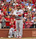 Los Angeles Angels' Albert Pujols composes himself before batting during the first inning a baseball game against the St. Louis Cardinals, Friday, June 21, 2019, in St. Louis. (AP Photo/L.G. Patterson)