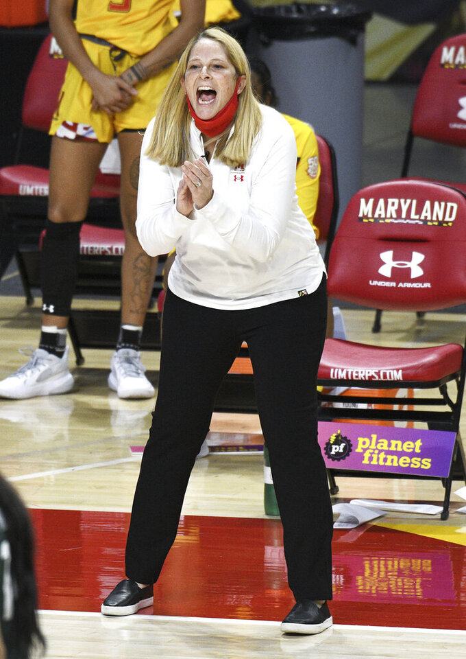 FILE - Maryland coach Brenda Frese applauds during the second quarter of the team's NCAA college basketball game against Michigan State in College Park, Md., in this Thursday, Jan. 28, 2021, file photo. Maryland coach Brenda Frese was honored as The Associated Press women's basketball coach of the year Wednesday, March 31, 2021, for the second time in her career. (Paul W. Gillespie/The Baltimore Sun via AP, File)