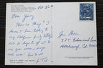 This Friday, July 26, 2019 photo shows a postcard from the Vatican for James Grein when he was 12 years old, written by now-defrocked Cardinal Theodore McCarrick. Grein, 61, says McCarrick used to write him postcards that were included in letters to his father, and that McCarrick's exalted place in his family was key to his abuse. (AP Photo/Manuel Balce Ceneta)